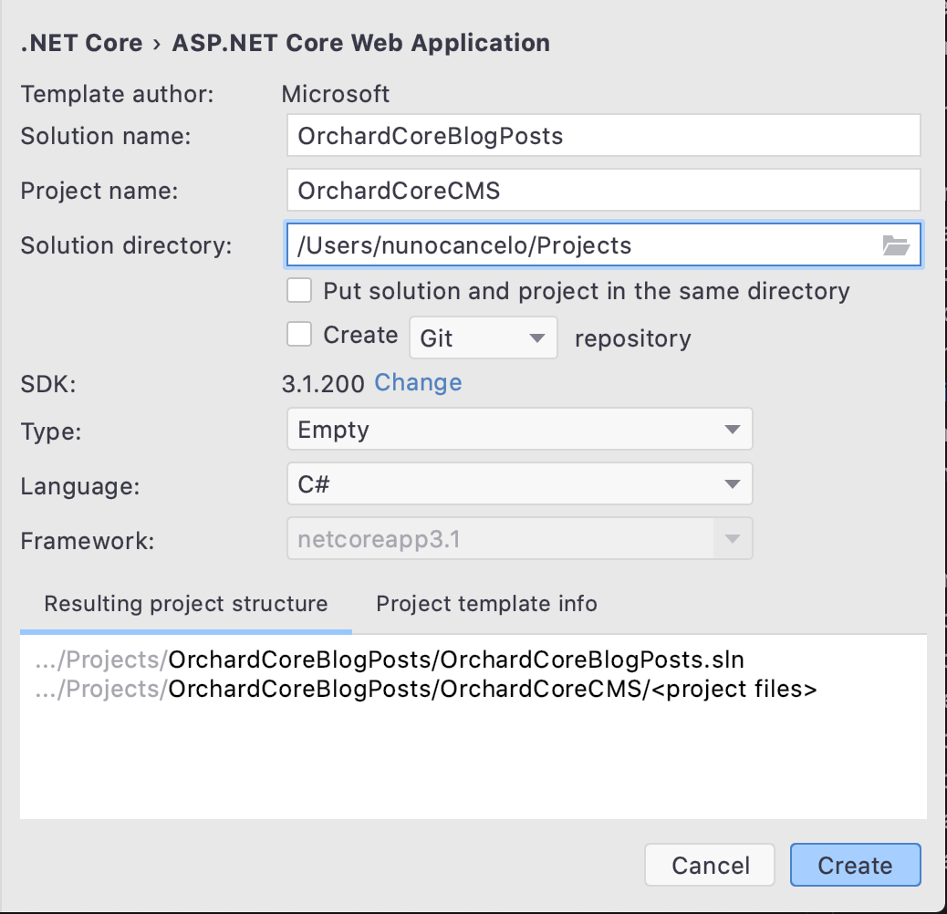 Orchard Core Solution